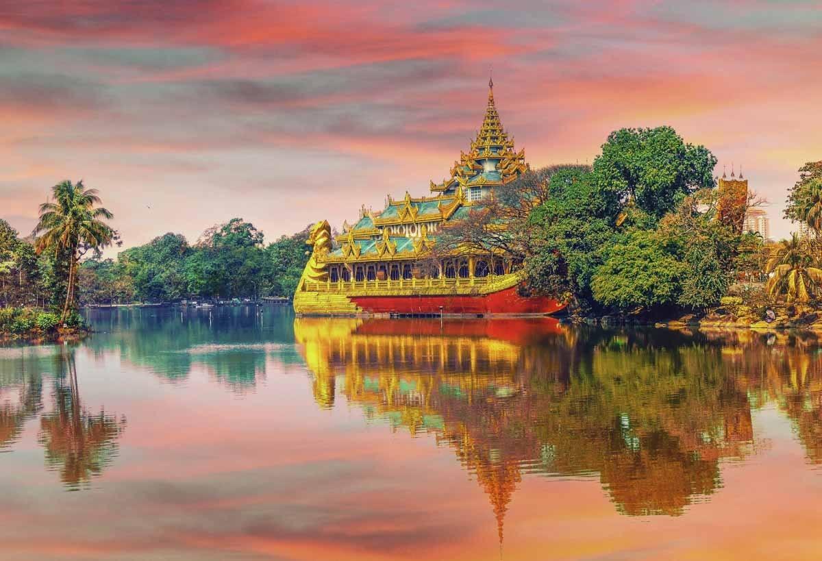 thailand pagoda pink sunset
