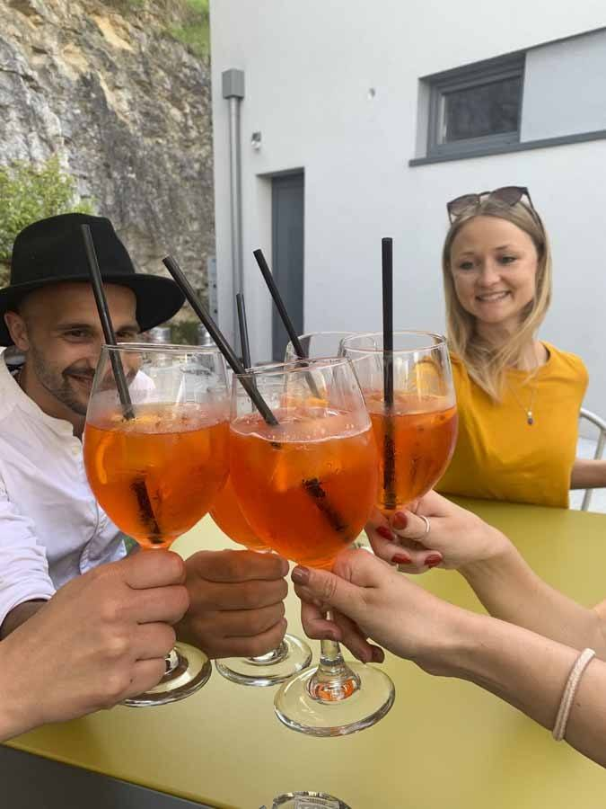 Group of friends having spritz and toasting