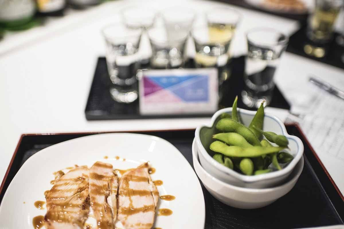 sake tasting kyoto with edamame