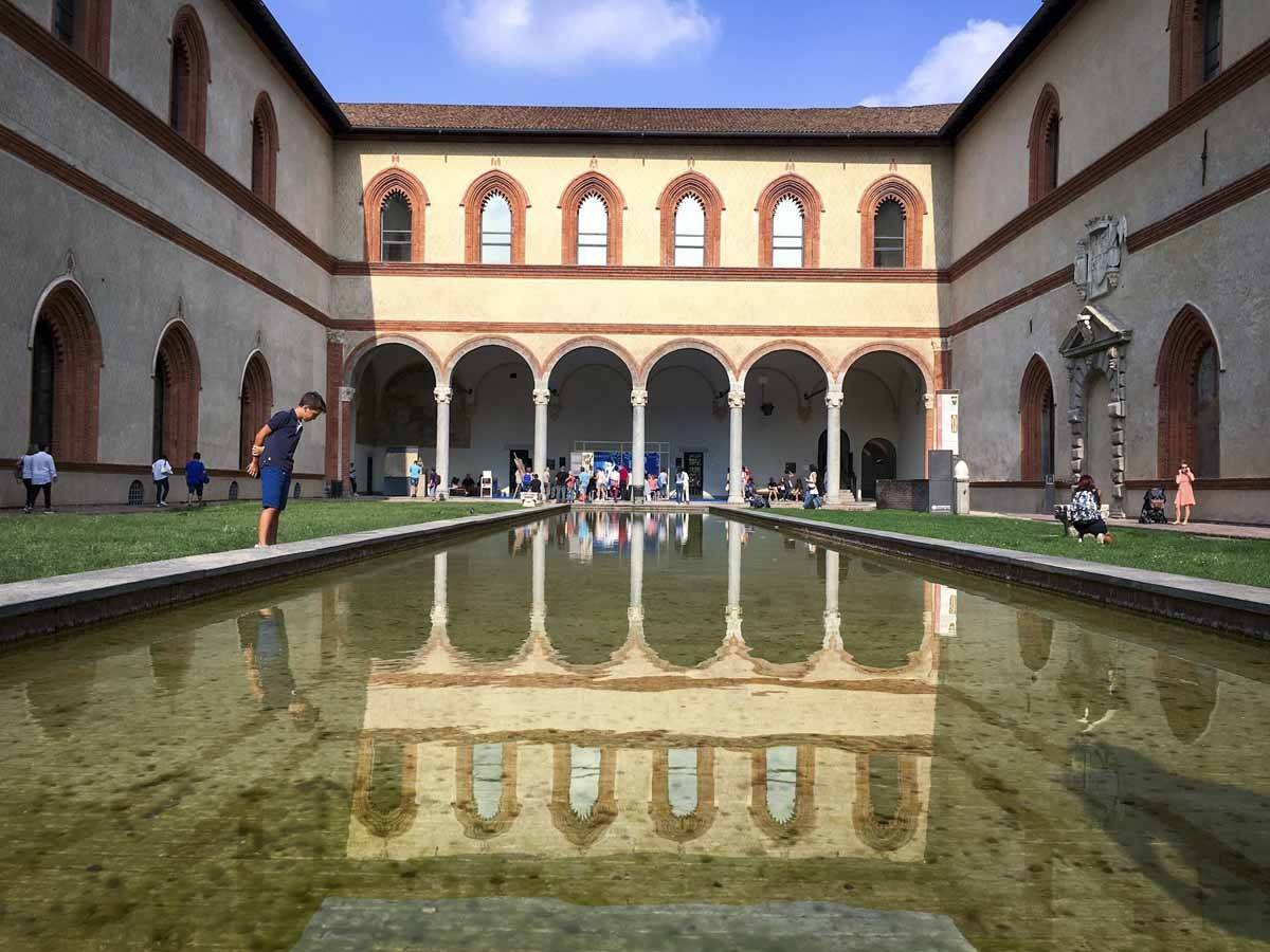 sforza castle milan reflections