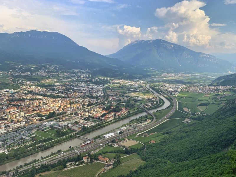 view of trento from top of sardagna cable car