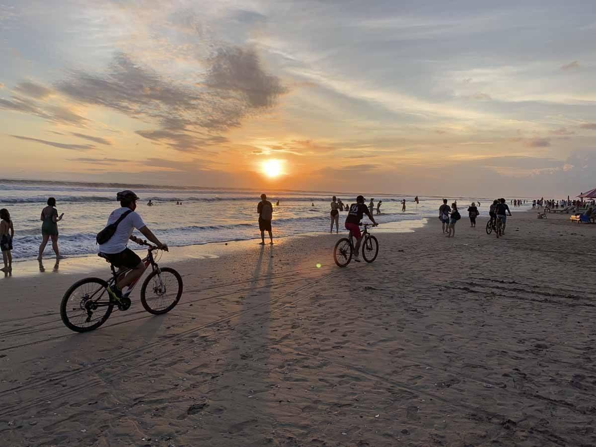 riding bike double six beach