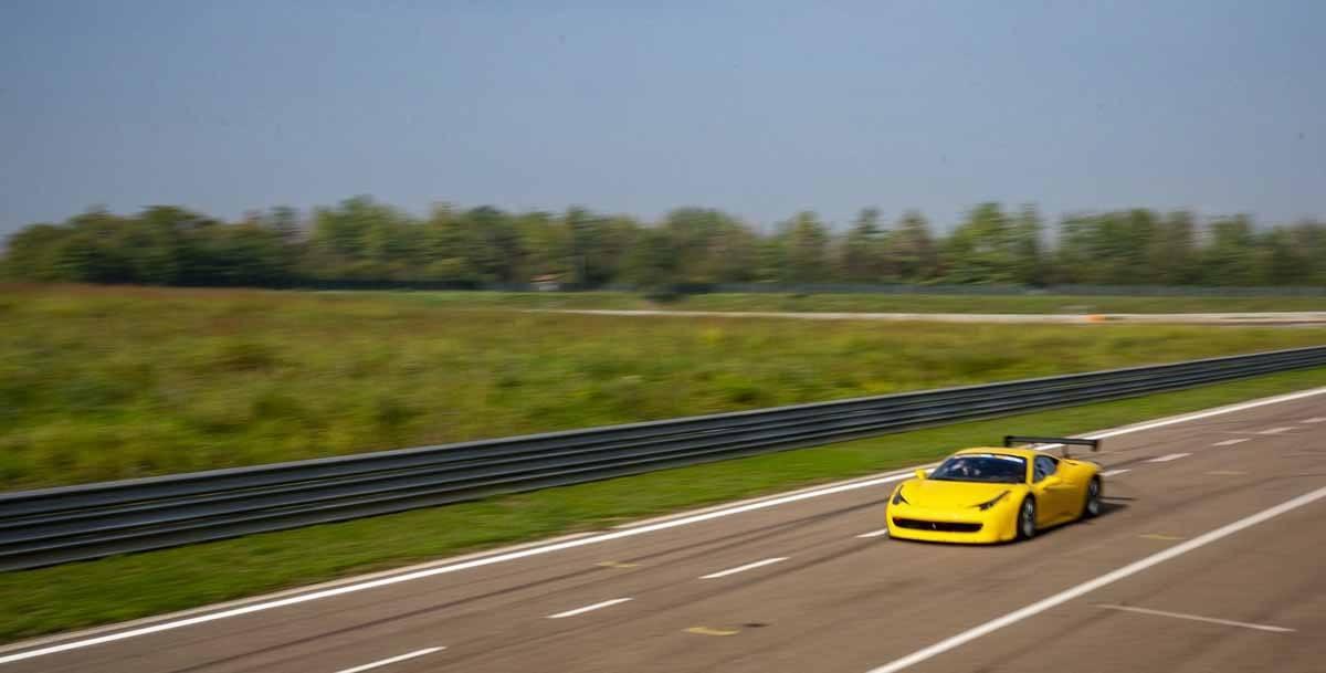 yellow ferrari 458 race track