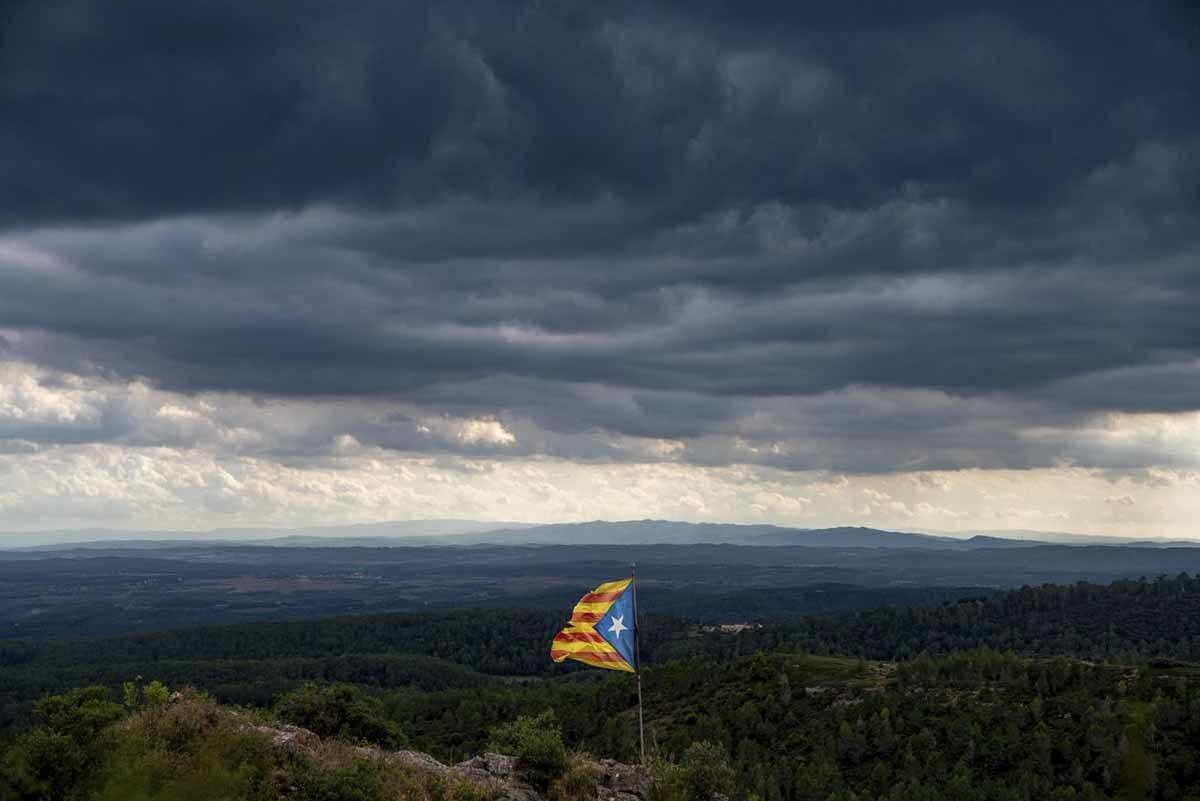 catalunya flag stormy sky