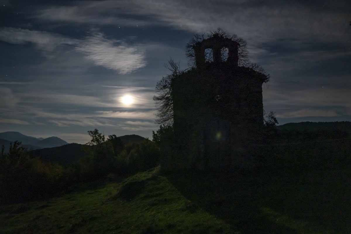 church ruins night