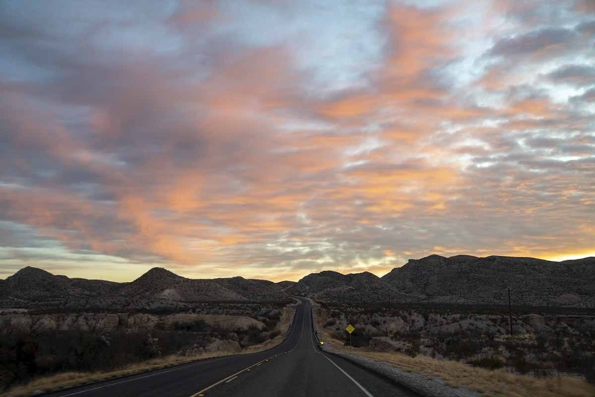 driving into big bend morning