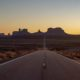 monument valley in winter sunset view