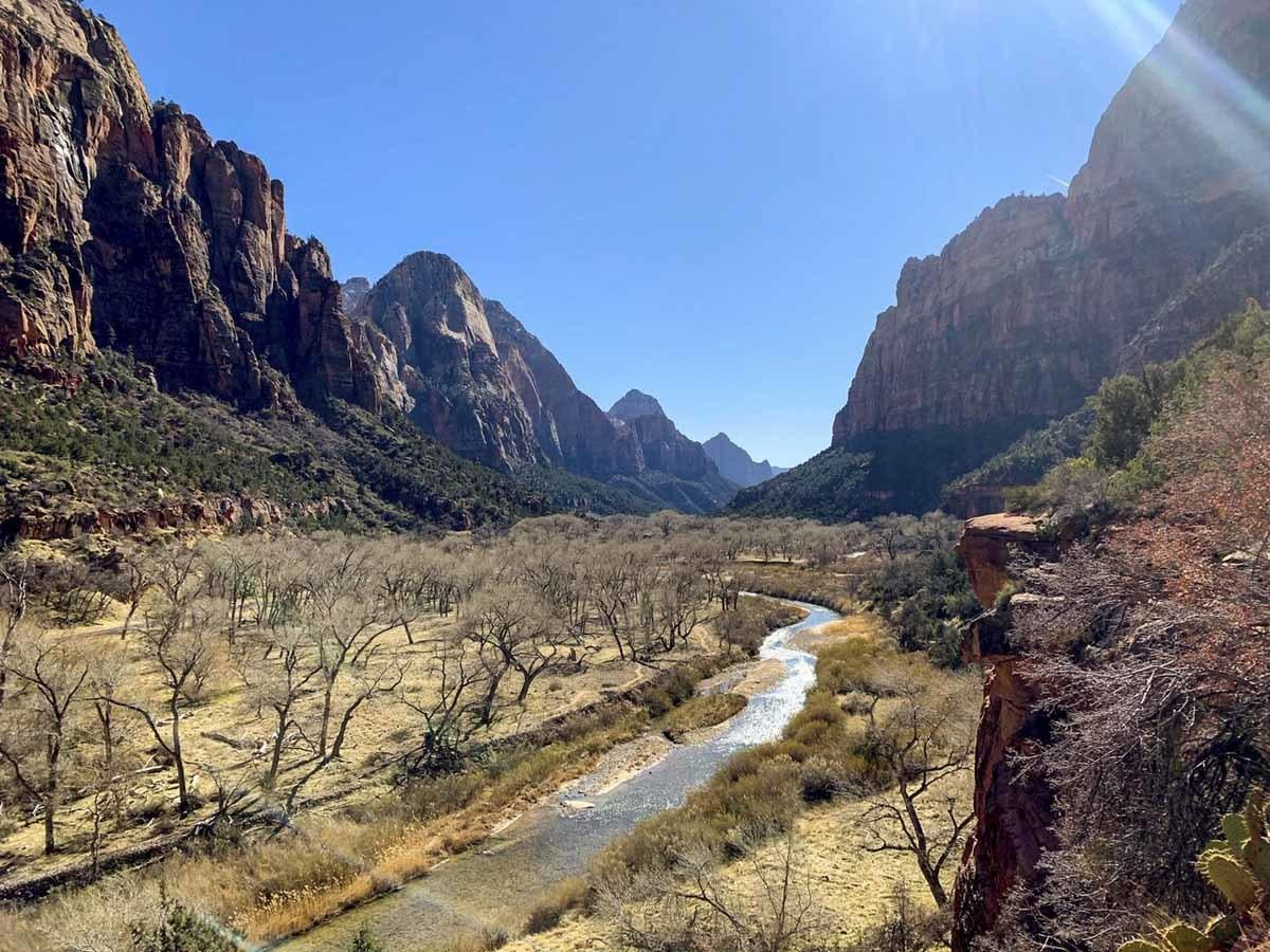 zion national park winter view
