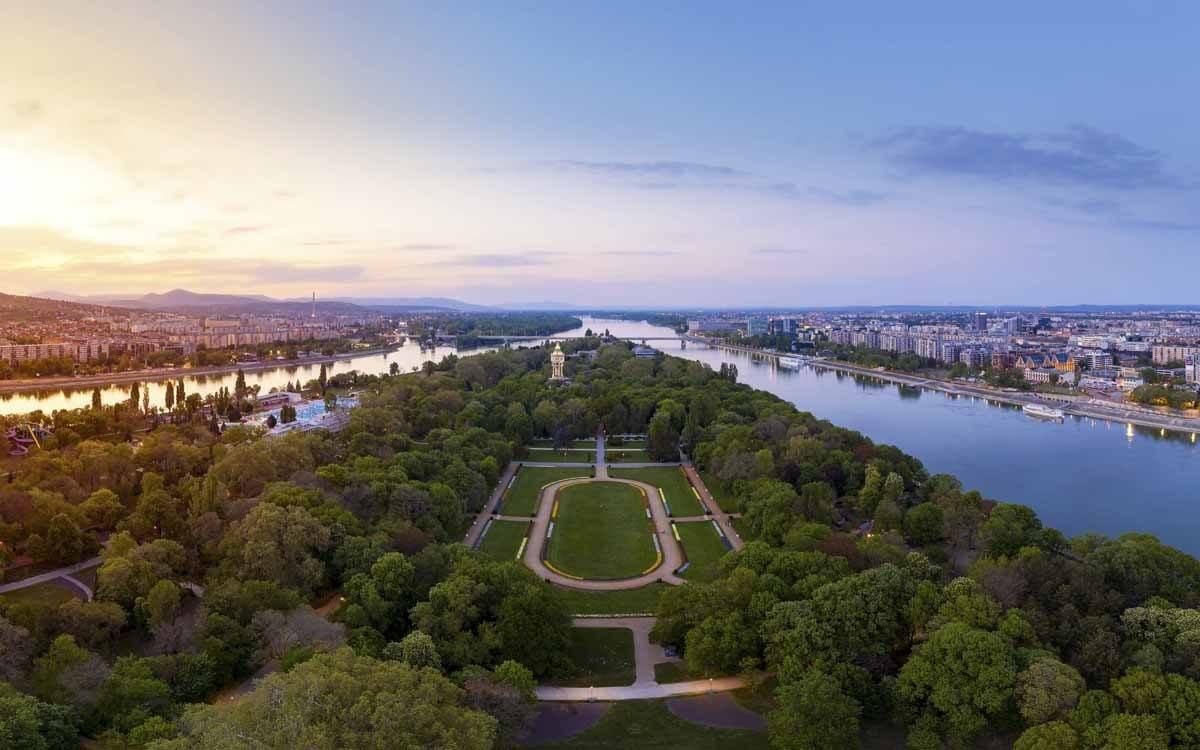 Hungary Budapest. Amazing cityscape about the Margaret island in sunset time. Fantastic green area. Popular outdoor meeting point for citizens and tourists.